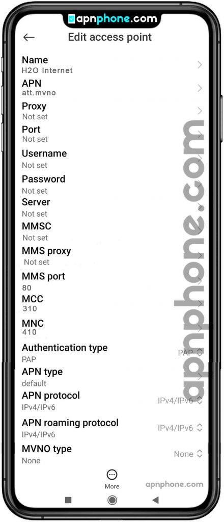 h2o wireless apn settings for android
