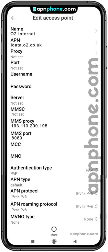 O2 APN Settings for Android