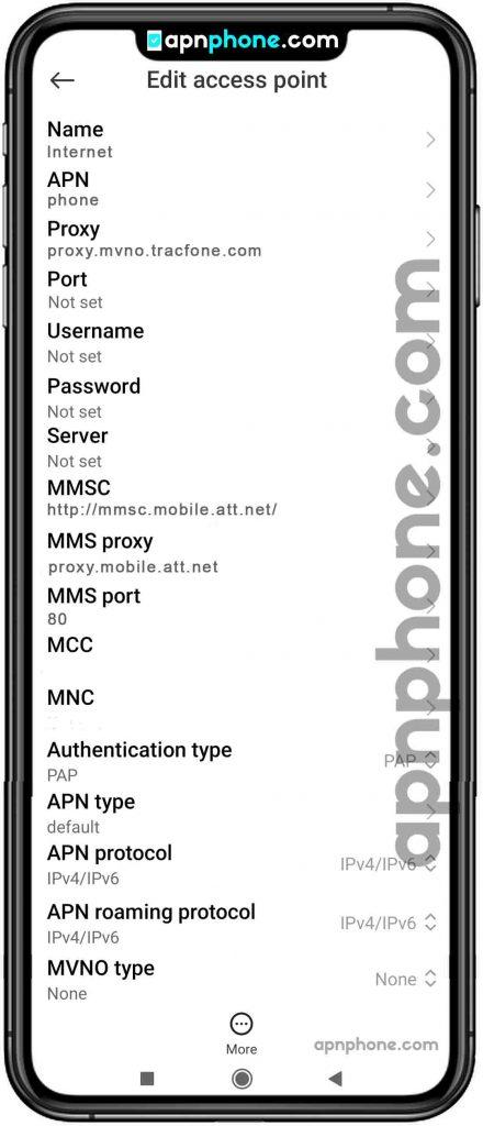 att apn settings for android
