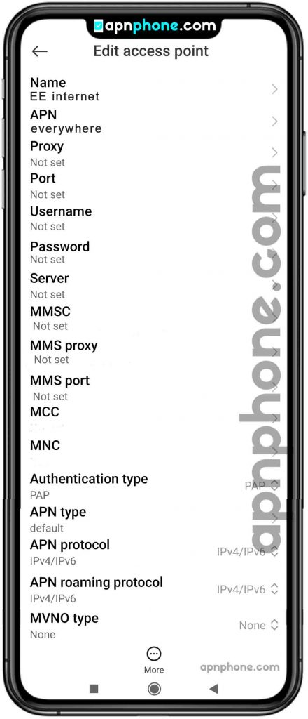 EE APN Settings for Android