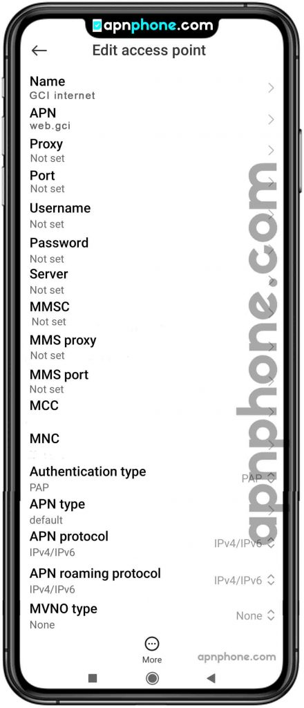 gci apn settings for android