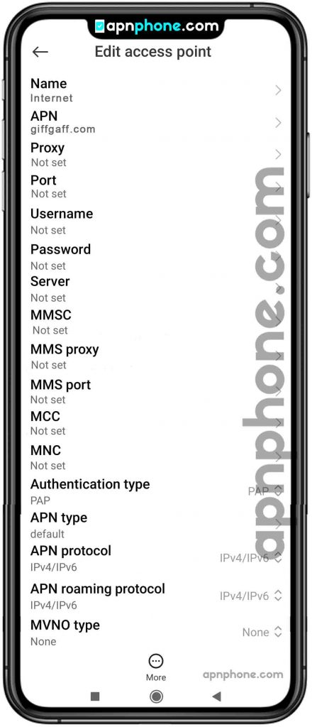 giffgaff apn settings for android