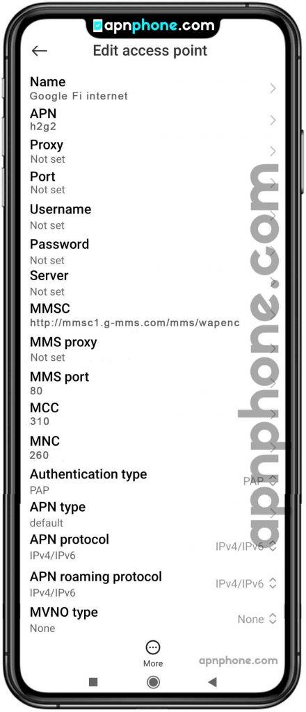 google fi apn settings for android
