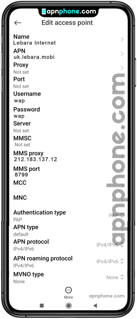Lebara Mobile uk APN Settings for Android