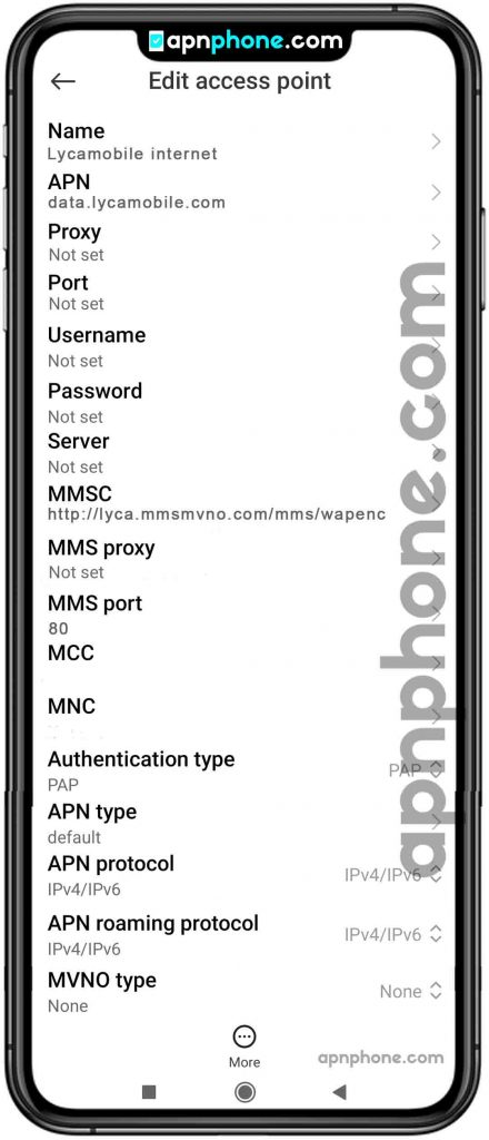 lycamobile apn settings for android
