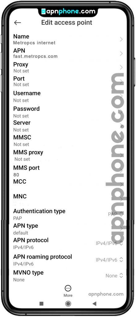 metropcs apn settings for android