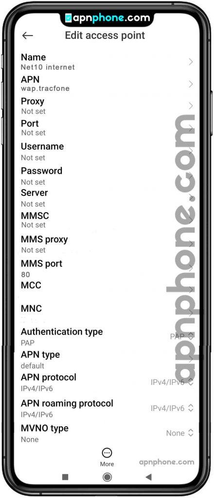 net10 apn settings for android