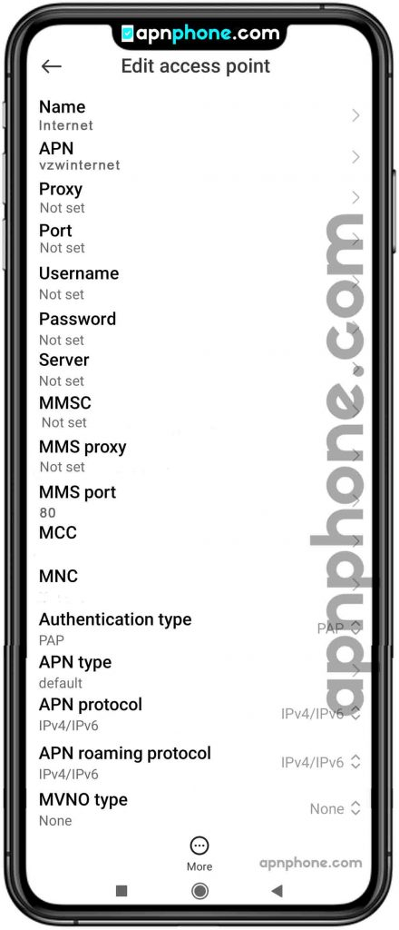 page plus apn settings for android