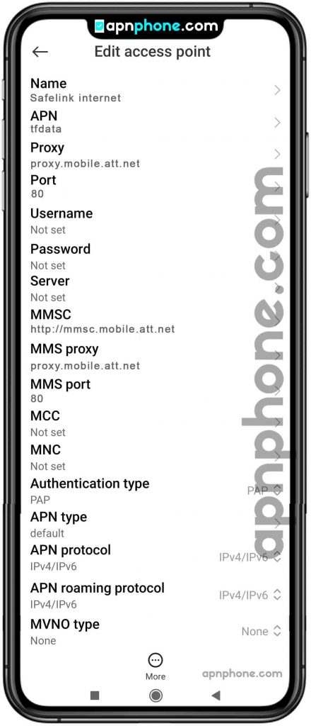 safelink wireless apn settings for android
