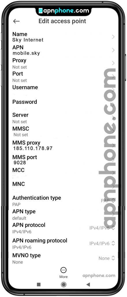 Sky Mobile APN Settings for Android