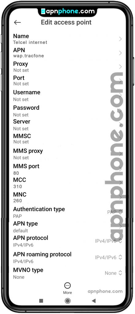 telcel apn settings for android usa