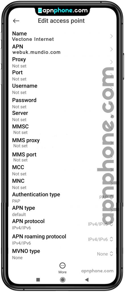 Vectone Mobile APN Settings for Android